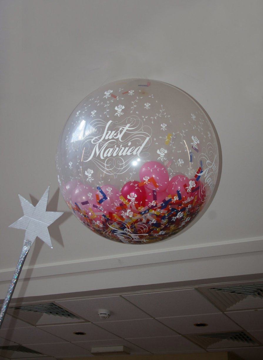 "Filled with 50 x 5"" Balloons & confetti. Explode with our Special Magic Wand after the 1st Dance or close the evening with a BANG!"