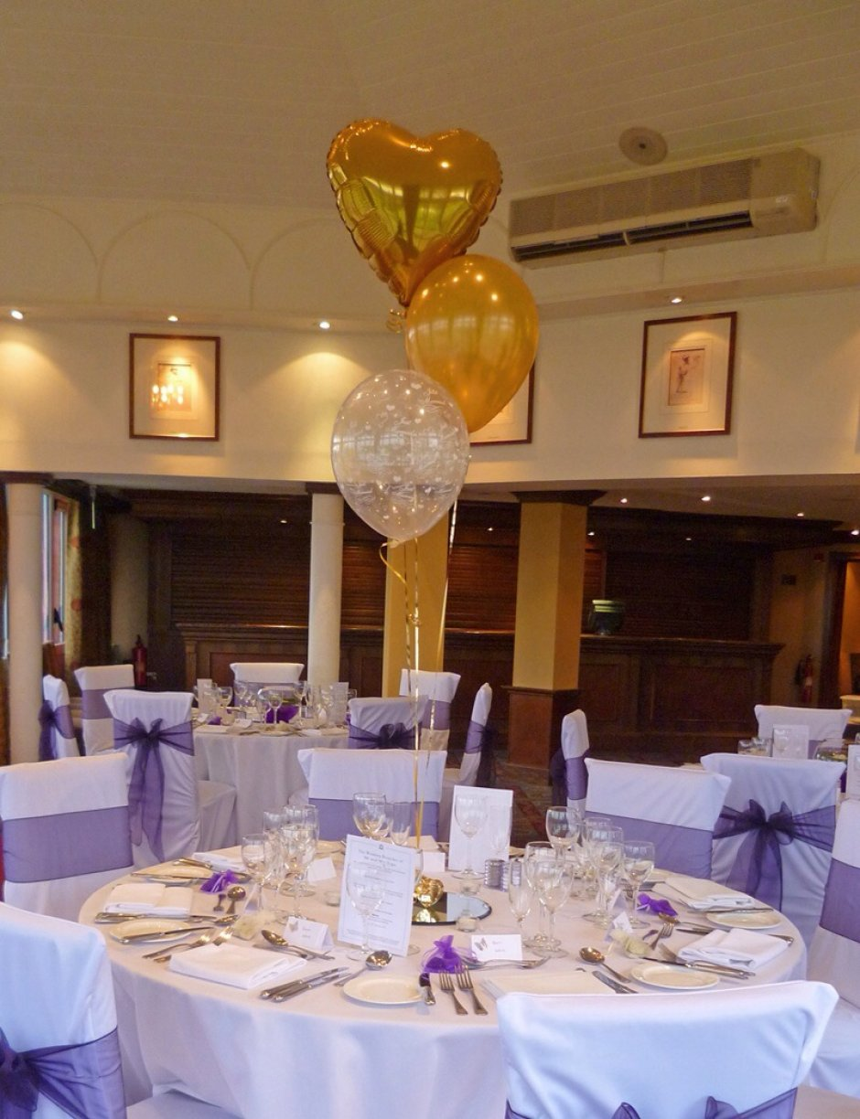 Combination of Heart Foil Balloon, Just Married transparent & your chosen theme colour latex balloon.