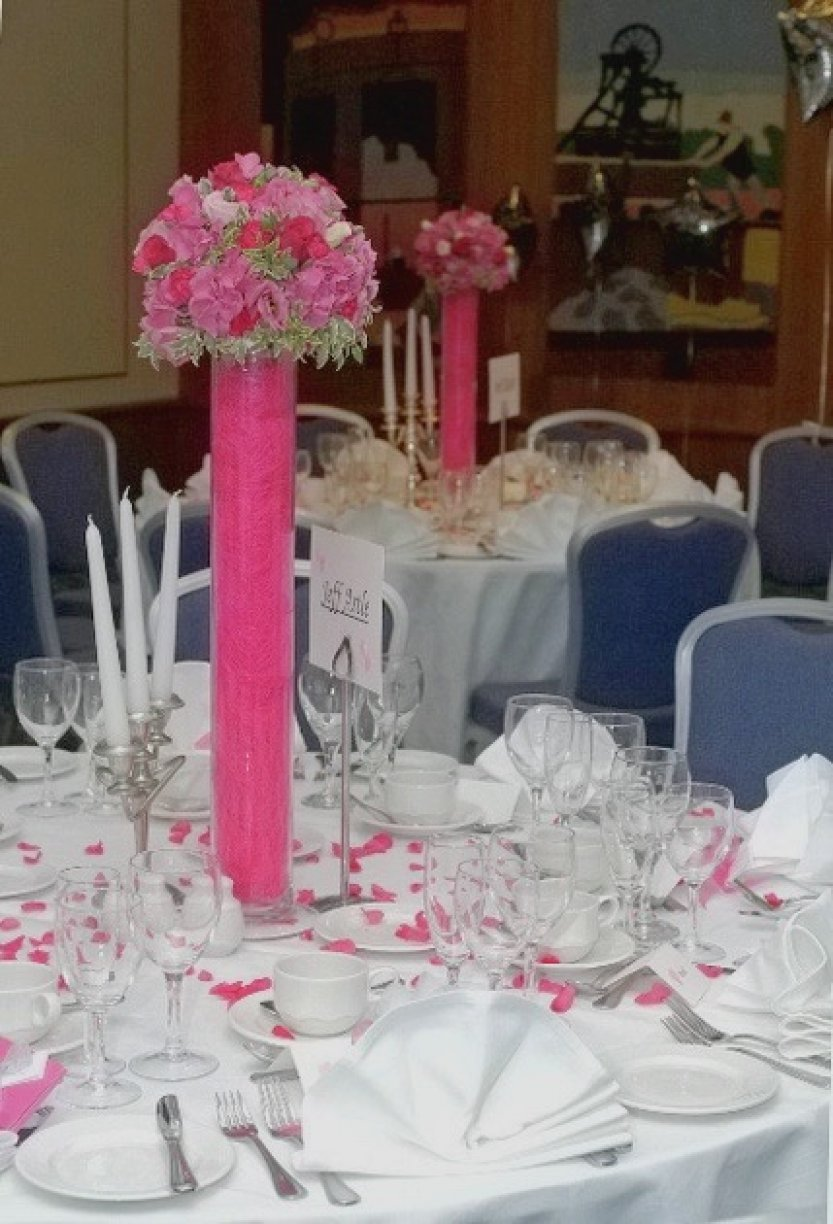 Available from £15 to £50 Tall Pomander Assorted pink flower style shown
