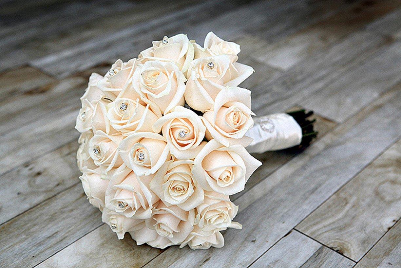 Cream Vandella Roses with Diamanté