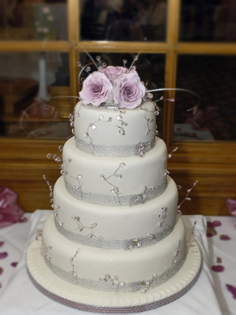 Four Layers dressed with Silver Ribbon & Lavender Cake topper