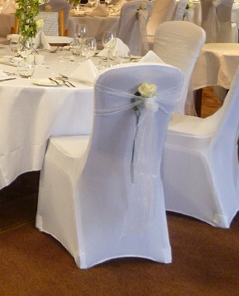 Lycra hugs the chair shape & is a popular choice especially with unusual shaped chairs
